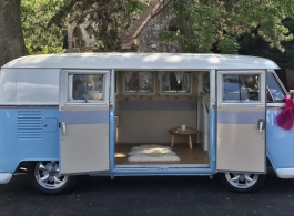 Classic White and Blue Campervan for weddings in Canterbury